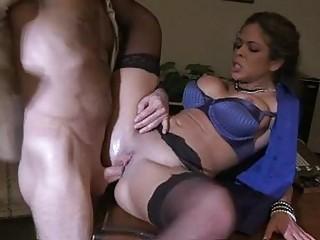plump chested brunette milf inside pantyhose