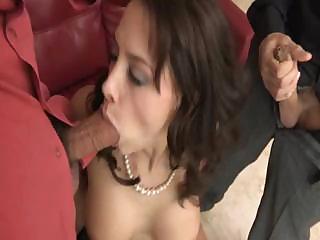 sexy cougar chanel preston gets two cocks, single