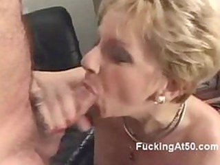 horny pale granny blows a cock and moans when