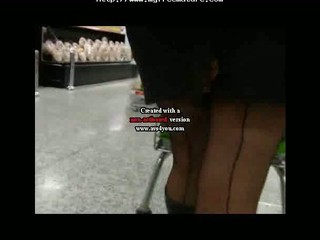 black seamed stockings boots and a mini dress