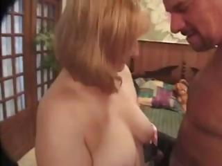 bleached lady with milky tits licks and obtains