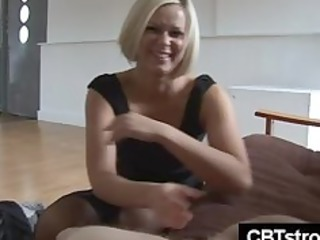 blond mature girl slaps dick harsh during handjob