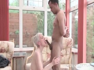 grownup blondie licks young phallus
