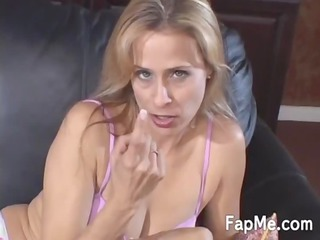 adorable lady knows how to rubs a cock