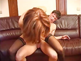 awesome brunette girl in pantyhose fucks fresher