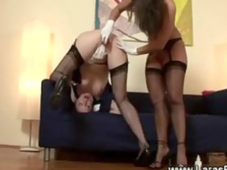 ancient in nylons with porn toy on kitty