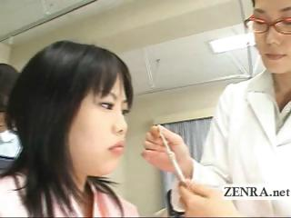japan lady doctor uses plastic cock with camera