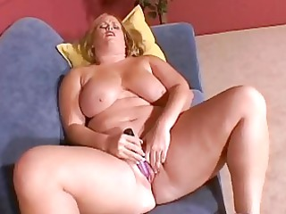large boobed pale cougar chick pleases on the bed