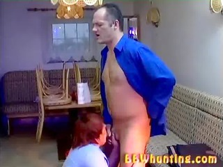 chubby grown-up giving lovely blowjob