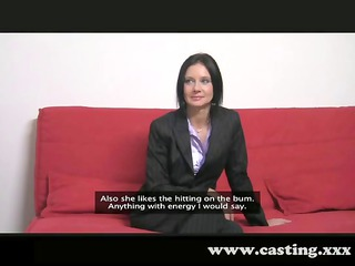 casting business grown-up lady worships the dick