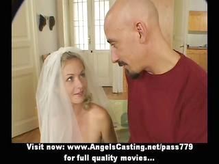 superb awesome amateur albino wife talking with a