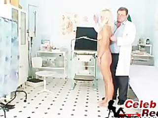 lean blonde cougar desperate pussy checkup