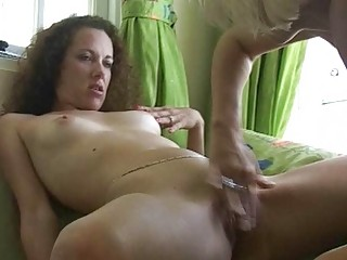 curly brunette takes her kitty fingered by