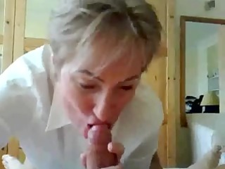 elderly lecturer giving dick licking and spraying