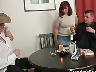poker pleasing granny is pierced by two fuckers