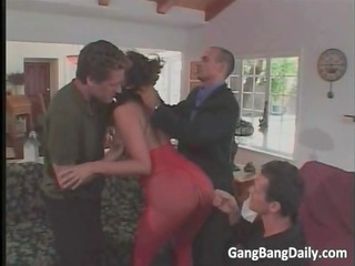 busty brunette mom with gag ball