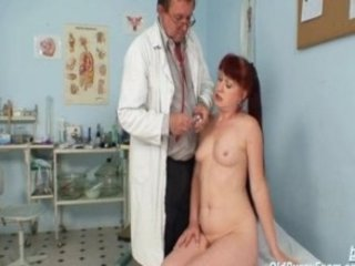 cougar granny rufous olga visiting her gyno nurse