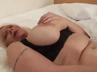 desperate blond grown-up in stockings panty