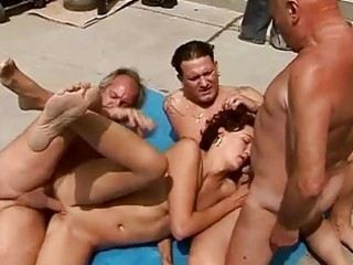 naughty guy fucking with two grandpas and a fresh