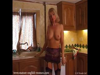 older european lady gets soapy in the dining room