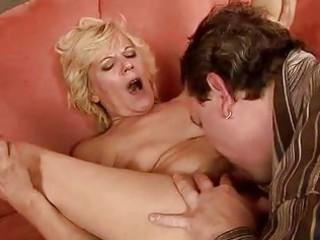 horny granny pushing sex toy and gang-banging