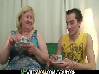 huge elderly is gangbanged by her son inside law