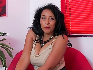 busty heavy chested brunette angel demonstrates