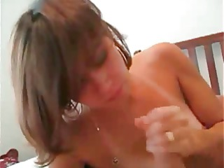 brunette housewife swallows his sperm