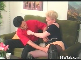 plump bleached woman into stretched leather shoes