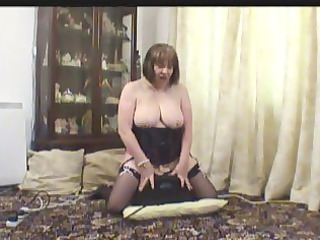 mature into pantyhose on her fuck device
