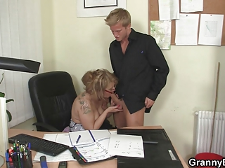 drilling with my cougar boss chick
