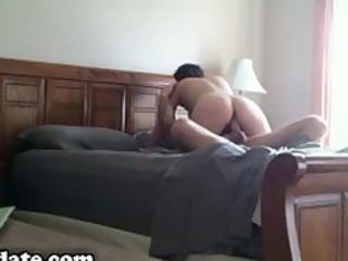 brunette babe drives on husbands penis