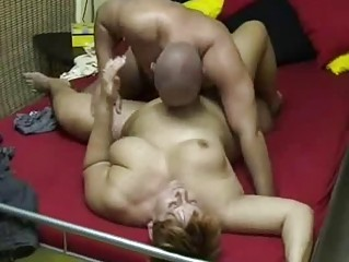 chubby young woman sucks and copulates at home