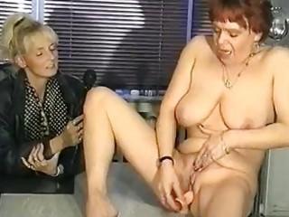 german interviewer helps chick masturbate