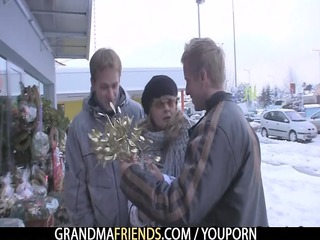 two fellows pick up older and gang gang bang her