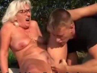 grandma fucks more amateur guy outside