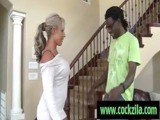 mature babe enjoys giant black libido . mixed porn