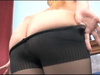 naughty blonde babe enjoys in super dark nylons