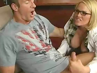 cougar babe prettie with glasses gives her fucker