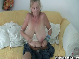 old with giant tits enjoys inside nylons