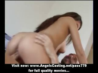 awesome brunette inexperienced woman doing