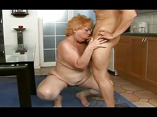 chubby granny obtains a facial from a man