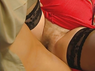 grandmas shaggy pussy is open for her young lover