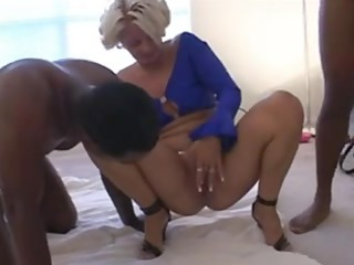 colorless chick creampied by two black fellows