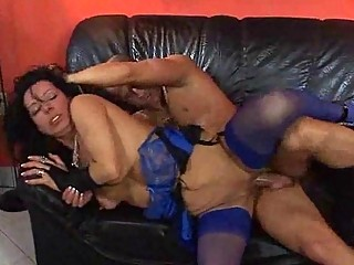 milf in blue pantyhose has some hardcore fuck on