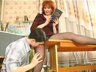 cougar teaches her student russian cum swallow
