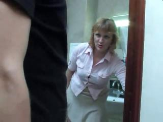mature milf obtains a piss on the toilet and gets