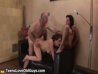 naughty elderly boy shoots his cum over two part5