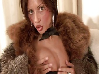 desperate brunette woman inside hirsute coat