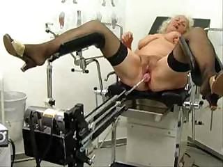 elderly norma works out on a porn machine